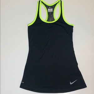 Nike black racer back tank with mesh trim size XS